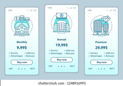 Tariff plans onboarding mobile app screens vector templates. Walkthrough website pages interface. Monthly, annual, premium service prices. Smartphone subscription payment web page layout