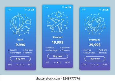 Tariff plans onboarding mobile app screens vector templates. Walkthrough website pages interface. Basic, standard, premium delivery prices. Smartphone subscription, membership payment web page layout