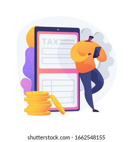 Tariff repay. Compensate for online services. Duty, task overlook, remuneration. Imputed cost and overtaxing. Man standing with phone in hands. Vector isolated concept metaphor illustration.