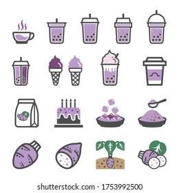 Taro icon set, Pearl milk tea, Bubble Milk Tea icons set.