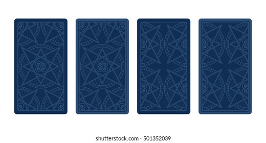 Tarot card reverse side. Classic designs. Vector illustration