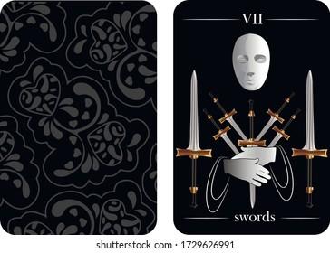 tarot cards 7 swords vector shirt card pattern