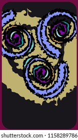 Tarot cards - back design.  Abstract spiral pattern