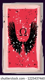 Tarot cards - back design.  Angel wings, Omega