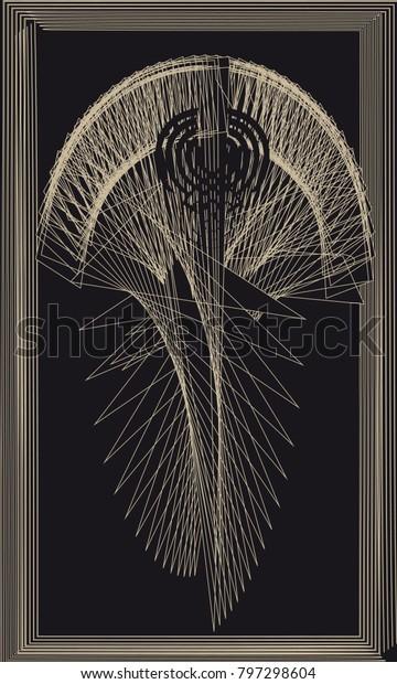 Tarot Cards Back Design Caduceus Symbol Stock Vector (Royalty Free