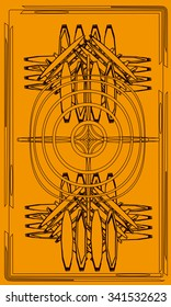 Tarot cards - back design.  Celtic cross
