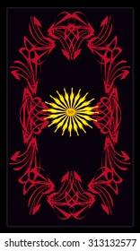 Tarot cards - back design, Yellow flower