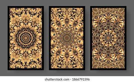 Tarot cards back set with golden pattern