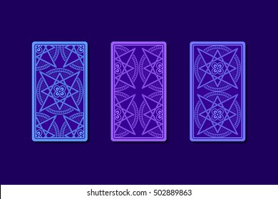 Tarot cards by reverse side. Classic designs. Vector illustration