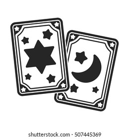 Tarot cards icon in black style isolated on white background. Black and white magic symbol stock vector illustration.