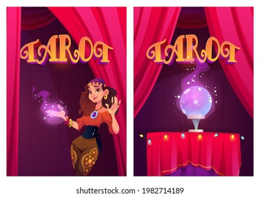 Tarot posters with gypsy fortune teller and magic ball. Future predict, soothsayer ritual. Vector flyers with cartoon illustration of fortuneteller woman with spell on hand and crystal sphere on table