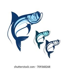 tarpon fish logo template collection vector illustration