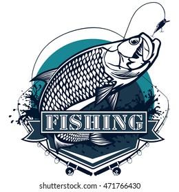 Tarpon fish. Vector illustration of tarpon fish logotype. Fishing style in ocean blue collours.