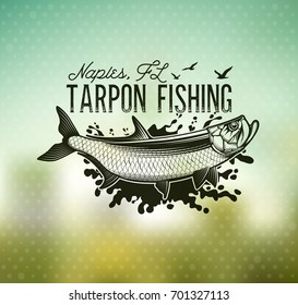 Tarpon Fishing emblem on blur background