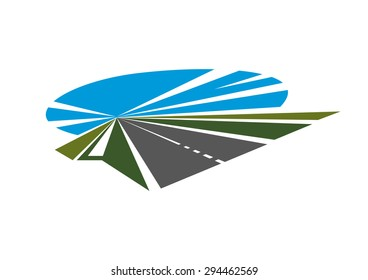 Tarred highway icon with green roadsides and blue sky disappearing into the distance to vanishing point, for transportation or travel concept