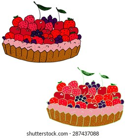 Tart or cake with berries. Hand-drawn illustration.