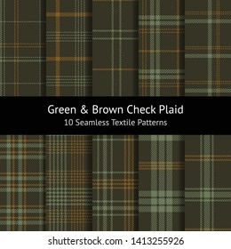 Tartan check plaid pattern set. Seamless hounds tooth tweed stripe plaid in dark green and brown for jacket, coat, skirt, or other modern fashion textile design. Swatches included.