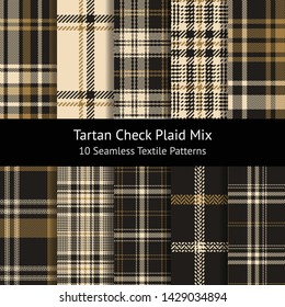 Tartan check plaid pattern set. Seamless plaid in dark grey and gold for scarf, flannel shirt, or other modern textile design. Woven, pixel, herringbone, mosaic squares, glen hounds tooth texture.