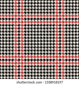 Tartan check plaid pattern vector in black, red, and beige. Houndstooth texture. Seamless plaid for textile design.