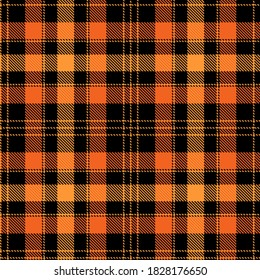 Tartan Cloth Pattern. Checkered plaid vector illustration. Seamless background of Scottish style great for wallpapers, textiles, decorations, festive wrappings. The orange tones and black color.