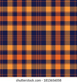 Tartan Cloth Pattern. Chequered plaid vector illustration. Seamless background of Scottish style great for wallpapers, textiles, decorations, festive wrappings. The orange, yellow, navy blue colors.