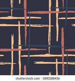 Tartan. Grunge Background with Stripes. Abstract Texture with Horizontal and Vertical Brush Strokes. Scribbled Grunge Rapport for Chintz, Curtain, Paper. Scottish Motiff. Vector Texture.
