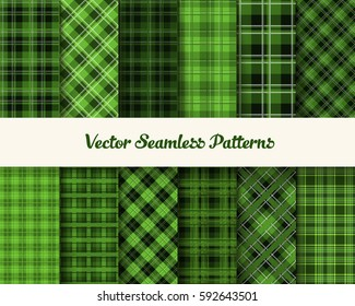 Tartan Patrick Day seamless vector patterns