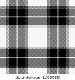 Tartan pattern. Gabardine fabric. Scottish cage. Scottish black and white checkered background. Scottish plaid in black and white tones. Vector illustration