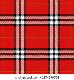 Tartan pattern. Scottish cage. Scottish checkered background. Scottish ornament. Scottish plaid in classic colors. Seamless fabric texture. Vector illustration