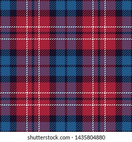 Tartan pattern. Seamless check plaid background vector in red, blue, and white for flannel shirt, underwear, bag, or other modern textile design.