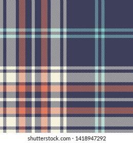 Tartan pattern. Seamless multicolor check plaid in blue, coral, light aqua, and beige for modern textile design. Herringbone pixel texture.