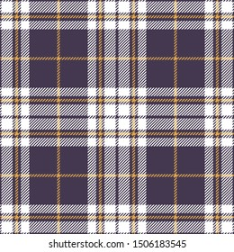 Tartan pattern. Seamless striped check plaid texture in purple, yellow gold, and white for flannel shirt or other fabric design.