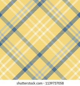 Tartan pattern,Scottish traditional fabric seamless, yellow and blue tone.