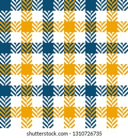 Tartan pixel check plaid vector in blue, yellow, and white. Seamless tile for flannel shirt. Herringbone texture. Gingham / vichy pattern background.