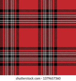 Tartan plaid black and white line fabric texture red background seamless pattern ,Scottish cage