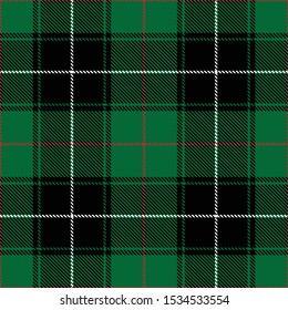 Tartan plaid black white red line fabric texture green background seamless pattern ,Scottish cage,New year Christmas Decoration ,Vector illustration