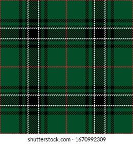 Tartan plaid black white red line fabric texture green background seamless pattern ,Scottish cage