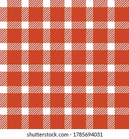Tartan plaid check seamless pattern design in red and white colors. Seamless fabric texture print for Christmas pajamas. Vector geometrical striped background.