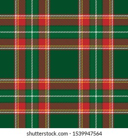 Tartan plaid green yellow red white line fabric texture green background seamless pattern ,Scottish cage , New year Christmas Decoration ,Vector illustration