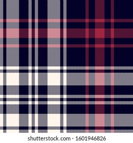 Tartan plaid pattern background. Seamless herringbone dark check plaid graphic in black, red, and off white for scarf, blanket, throw, duvet cover, or other modern autumn winter textile design.