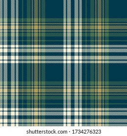 Tartan plaid pattern background. Seamless dark check plaid graphic in blue, green, gold for flannel shirt, blanket, throw, or other modern autumn winter fabric design.