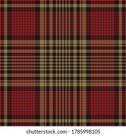 Tartan plaid pattern in black, red, gold. Dark glen check plaid for flannel shirt, tablecloth, skirt, or other modern autumn winter tweed fabric design. Houndstooth texture.