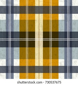 Tartan plaid pattern in blue and yellow. Seamless background for print, home decor, textile design, wrapping paper, wallpaper