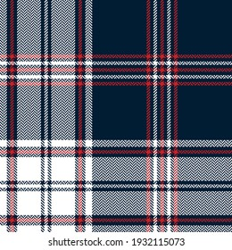 Tartan plaid pattern in navy blue, red, white. Large herringbone check graphic texture for flannel shirt, blanket, duvet cover, scarf, other trendy autumn winter everyday fashion textile print.