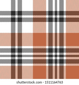 Tartan plaid pattern. Seamless vector tartan check plaid in brown, orange, and white for autumn and winter flannel shirt, scarf, blanket, throw, and other modern textile design.