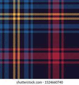 Tartan plaid pattern seamless vector background. Multicolored dark check plaid in blue, red, and yellow for flannel shirt, blanket, throw, or other modern textile design. Herringbone woven texture.