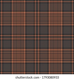 Tartan plaid pattern vector in brown and orange. Seamless hounds tooth glen check plaid background for flannel shirt, skirt, tablecloth, blanket, throw, or other modern autumn textile print.