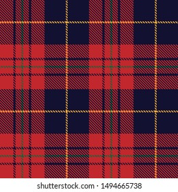 Tartan plaid red yellow green line fabric texture violet background seamless pattern ,Scottish cage