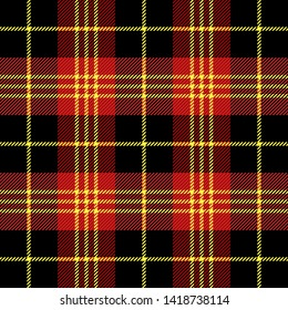 Tartan plaid. Scottish pattern in black, yellow and red cage. Scottish cage. Traditional Scottish checkered background. Seamless fabric texture. Vector illustration