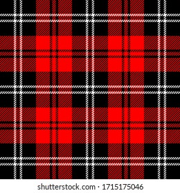 Tartan plaid. Scottish pattern in black, red and white cage. Scottish cage. Traditional Scottish checkered background. Seamless fabric texture. Vector illustration